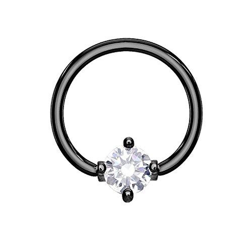 beyoutifulthings Ring ZIRKONIA Brustwarzen-Piercing Intim-Piercing Brust-Piercing Nippel-Piercing Edelstahl SCHWARZ Clear Stab 1,2mm Ring 10mm