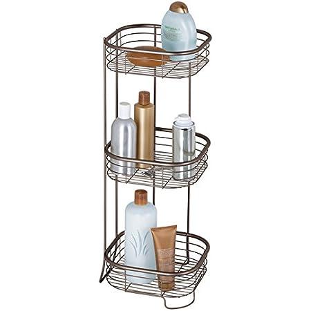 mDesign étagère d'angle sur pied pour salle de bain et douche – meuble de rangement télescopique pratique à 3 paniers pour shampooings, gels de douche etc. – meuble de rangement – bronze