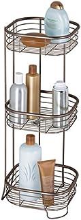 mDesign étagère d'angle sur pied pour salle de bain et douche – meuble de rangement télescopique pratique à 3 paniers pour...