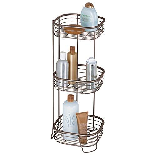 mDesign Scaffale doccia angolare da terra – Portaoggetti e portasapone doccia a 3 piani – Per shampoo, balsamo, gel, lozioni e altri accessori bagno – Bronzo