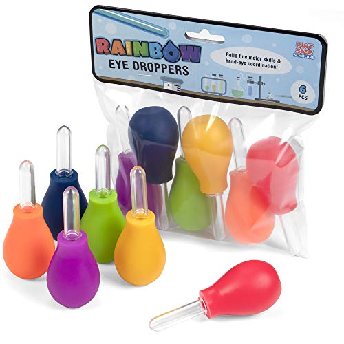 Pint-Size Scholars Rainbow Eye Droppers - Set of 6 Plastic Pipettes Educational Toy for Toddlers - Great as a Science Learning Tool, Kitchen Helping Accessory, and for Other Home Activities