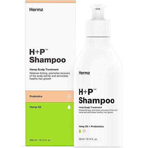 Hermz H+P Antimicrobial Nourishing Scalp Psoriasis Shampoo: Hemp, Probiotics & Salicylic Acid - Deeply Nourishing Treatment of Seborrhoeic Dermatitis and Psoriasis - Therapeutic Shampoo