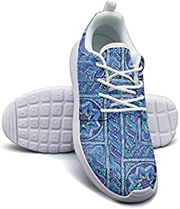 Byzantine Moroccan Geometric Flower Green Women's Lady Skateboard Casual Shoes Sneakers Care Running Shoes
