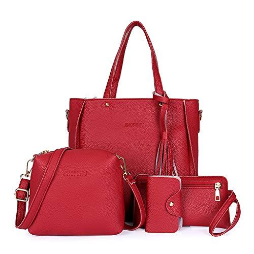 RG-FA 4pcs Mujeres Señora Moda Bolso Bolsos De Hombro Bolso Bolso Bolso Messenger Satchel Set - Rojo