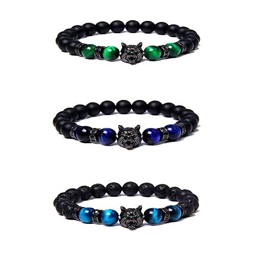 ZHive 3PCS Save A Wolf-Bracelet, Wolf Head Lava Rock Bracelet