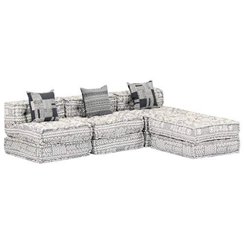 vidaXL Pouf 3 places modulable - Coussin de sol - Canapé de salon - Canapé lit d appoint - Gris clair - Tissu