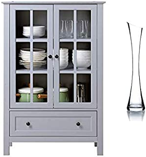 HOMESTAR 2-Door/1-Drawer Glass Cabinet (Gray)