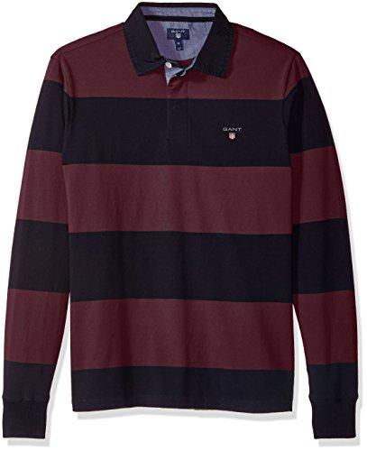 GANT Herren Mens Long-Sleeved Bar Striped Rugby Shirt Polohemd, Weinrot, S