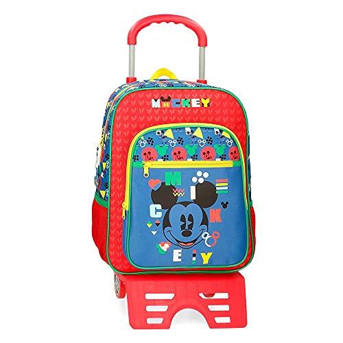 Disney Mickey Shape Shifter Mochila Escolar con Carro Multicolor 27x38x11 cms Poliéster 11,29L