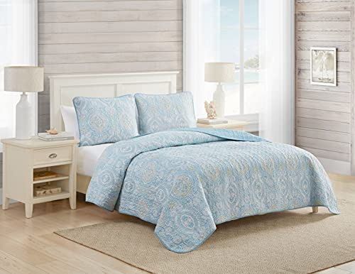 Tommy Bahama Home Turtle Cove Collection Quilt Set-100% Cotton, Reversible Bedding with Matching Sham(s), Pre-Washed for Added Softness, King, Aqua