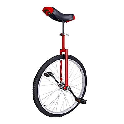 Lilei 24-Inch Wheel Unicycle, Height Adjustable, Thick Aluminum Alloy Frame, Large Movable Saddle, Full-Size Nylon Pedal (Red)