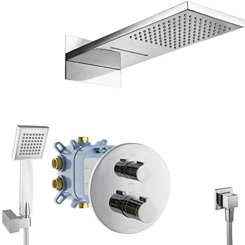 PaulGurkes Duschsystem Unterputz Wasserfall Thermostat Dusch Set Komplett Fertigmontage Luxusbad mit Einbaubox Regendusche 3-Wege Tropendusche UP-Montage Duschtempel einbaufertig eckig Dusche