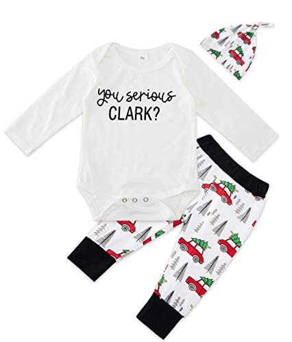 BFUSTYLE Baby Boys Girls Xmas Tree Car Onesie Funny You serious Clark White Bodysuit 3M Neonate Toddler Christmas 3 Pieces Outfits Set Holiday Soft Cotton Playsuit
