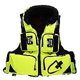 HPH Chalecos Salvavidas para Adultos, Chaleco Salvavidas para Kayak Chaqueta De Natación De Seguridad Ajustable con Rayas Reflectantes Adecuado para Pescar, Bucear, Remar,Amarillo,XXL