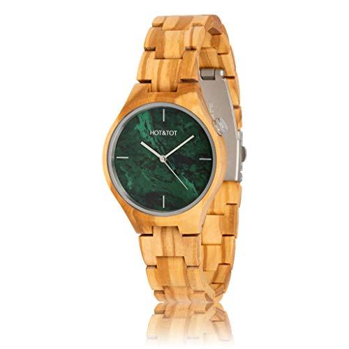 HOT&TOT Volea - Reloj de madera con piedra de oliva y piedra de 40 mm, color verde, plateado y beige