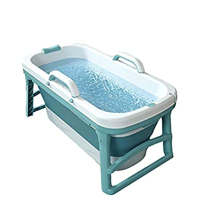 GLY Portable Bathtub for Home Foldable Bathtub for Adults Baby Toddlers, Soaking Tub in Shower Stall Hot Water SPA Bath Tub?Double Drains, PP and TPE Material, 10kg (Color : Blue)