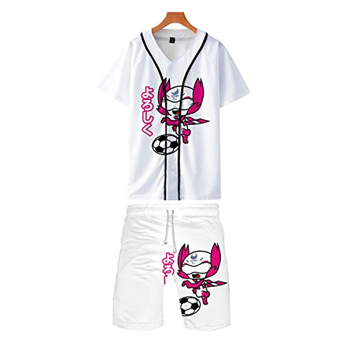 RENDONG Damen Japan 2020 Olympia T-Shirt 3D Printing Short Sleeve + Schnell Trocknend Shorts Geschenk Baseball Uniform,Weiß,2XL