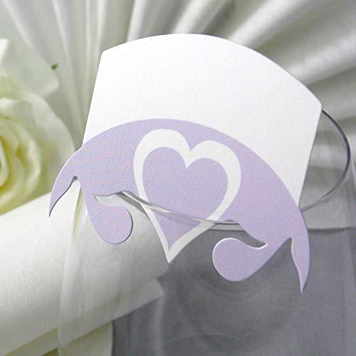 EinsSein 10x Tischkarten Hochzeit Herz Blatt Flieder Hochzeit, Tischkarten, Platzkarten, Namenskarten, Herz Schmetterling Stuhl Rosen Ringe