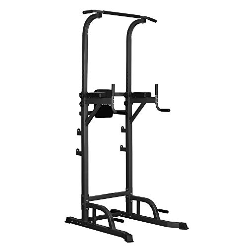 PUPZO Pull Up Bars Power Tower Workout Dip Stands Push-Up Station Strength Training Fitness Equipment for Home Gym (Black)