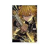 DRAGON VINES Póster de anime demonios slayer Agatsuma Zenitsu Raiden Cool Pull Sword Canvas Print decoración de pared para el hogar 40 x 60 cm