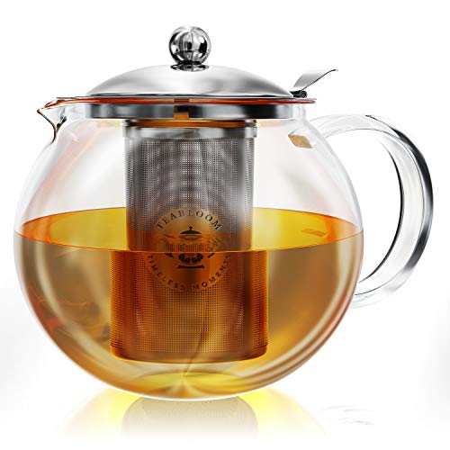Teabloom Stovetop Safe  LeadFree Glass Teapot – 40 oz / 12 L Capacity – Removable Stainless Steel Infuser – Great For Loose Leaf Tea Blooming Tea Tea Bags amp Fruit Infused Water