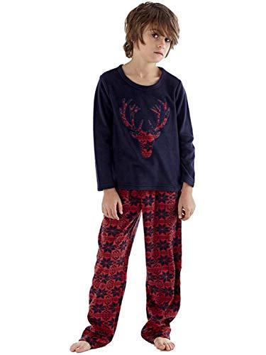 O.N.E Kinder Neu Fleece Pyjama Set Rundhals Herrenabend Gesicht Heritage Hausanzug Warm Pyjama 5-13 - Marine, 122-128