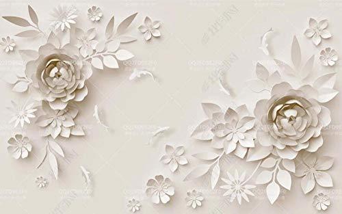 Papel Pintado Pared Papel Pez De Hoja De Flor De Origami Fotomurales 3d Decoración Papel Tapiz Dormitorio Sala Custom Murales Fondo Pared 300x210cm