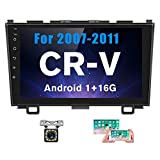 Hikity Android Car Stereo Double Din for Honda CRV (07-11) 9 Inch Touch Screen Radio Bluetooth WiFi GPS FM Radio Support Android/iOS Phone Mirror Link with Dual USB Input & Backup Camera