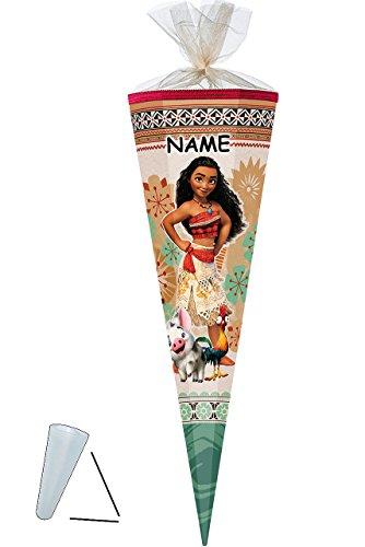 alles-meine.de GmbH Schultüte -  Disney - Vaiana  - 35 cm - rund - incl. Name - mit Tüllabschluß - Zuckertüte - Nestler - mit / ohne Kunststoff Spitze - für Mädchen - das Parad..