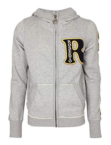 Roberto Geissini Sweatjacke Flag Embroidery Sweater Grey/XXL