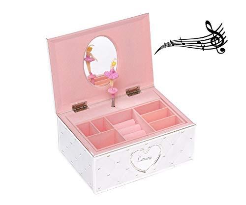 Brillibrum Design Schmuckschatulle mit Spieluhr Ballerina inklusive Namen versilbert Geschenkbox Schmuckdose für Mädchen Schmuckbox mit Tänzerin Jewellery Box mit Gravur bis 15 Zeichen