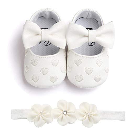 2 Pezzi Neonata Scarpe + Fascia, Bambino Fiore Scarpe Anti Scivolo Morbido Occasioni Speciali Battesimo per la Festa Nuziale Scarpe