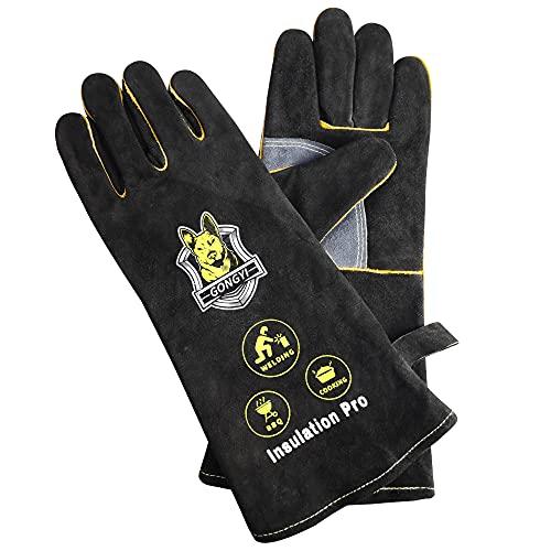HeoBam 16 Inch 932℉ Safety Work Leather Gloves Black Kevlar/Gardening/Welding/Cooking/Cut/BBQ/Heat-Fire Resistan/Heavy Work/Animal Handling