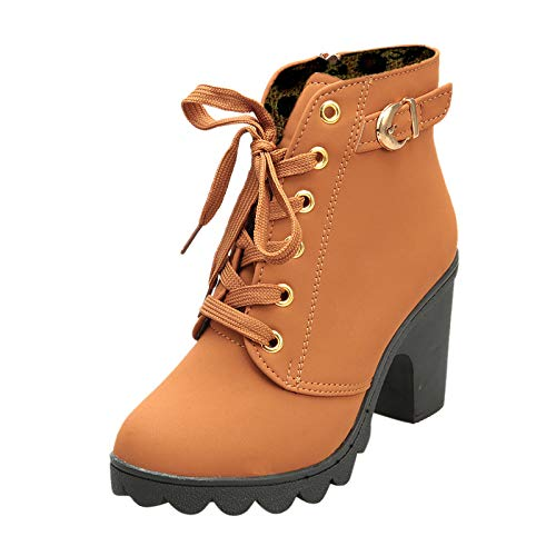 stivaletti donna con tacco bassi boot inverno neve Stivali da donna con tacco alto e fibbia alla caviglia con plateau (35,marrone)