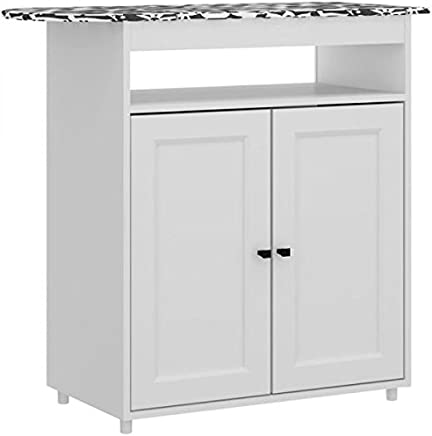 Ditalia Moveis Iron Stand with 2 Door Cabinet, White - H 83 cm x W 90 cm x D 37.5 cm