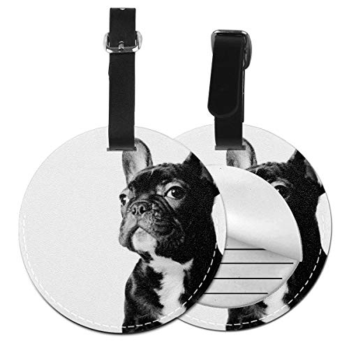 Luggage Tag Cruise Tags Bags & Baggage Tags For Travel Identifier Suitcase, Large Tag Tables Baggage Name Tags Privacy Bag Tags, (Black French Bulldog White)