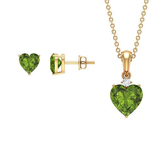Rosec Jewels 14 quilates oro amarillo corazón redonda Green Peridoto/Olivino Diamond