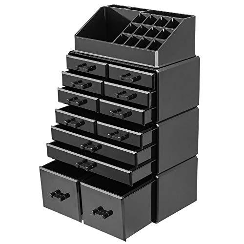 femor Acryl Kosmetik Aufbewahrung Organizer, Make up Organizer mit Schubladen für 16 Lippenstift und Nagellack,stapelbarer Schmuckkasten für Make Up, schwarz,25 x 14 x 40cm