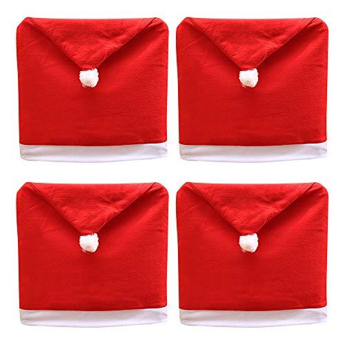 ANMINY - 4 fundas para sillas de Navidad, diseño de gorro de Papá Noel, color rojo no tejido, para decoración de fiestas de Navidad