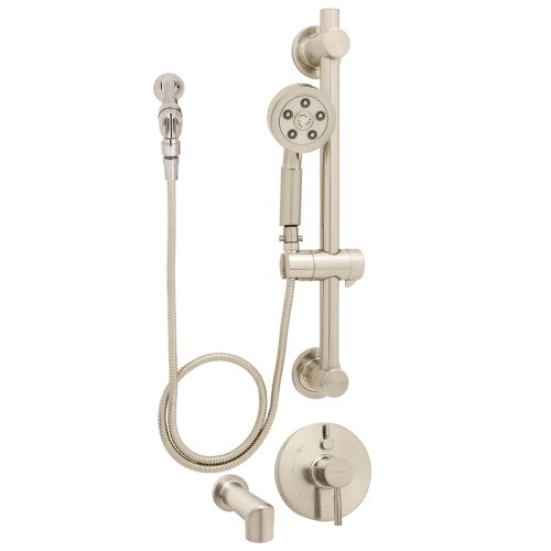 Speakman SM-1490-ADA-PBN Neo Anystream Handheld Shower with hose, Diverter Shower Valve, and ADA Adjustable Grab Bar, Brushed Nickel