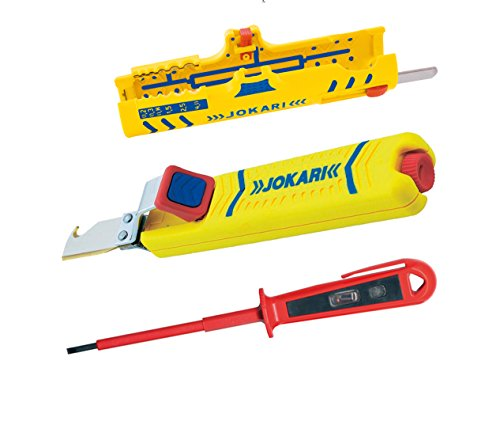 Jokari Abisolier Set - Abisoliermesser Secura No. 28 H + Secura Super Entmantler No.15 + Phasenprüfer