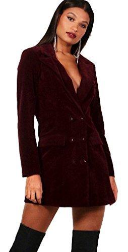 Boohoo dames Phoebe bordeaux fluweel dubbele borst Blazer Tux jurk RRP £35 maten 8-14