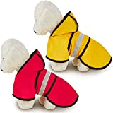 2 Pieces Pet Dog Raincoat Reflective Waterproof Pet Rain Clothes Small Dogs Rainwear Puppy Rain Jacket Pet Rain Poncho for Small Dogs with Harness Hole (L)
