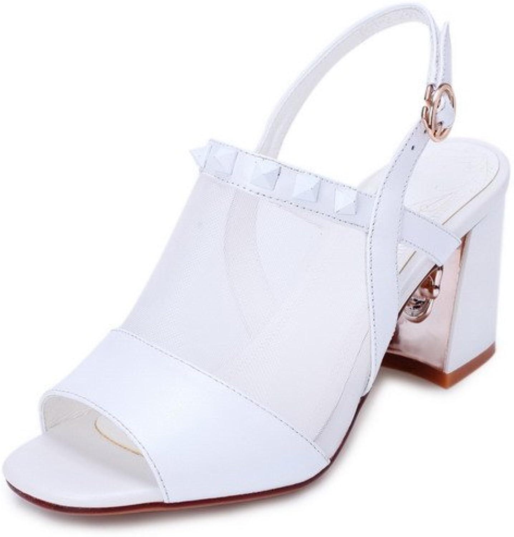 AmoonyFashion Women's Solid High Heels Buckle Open Toe Sandals