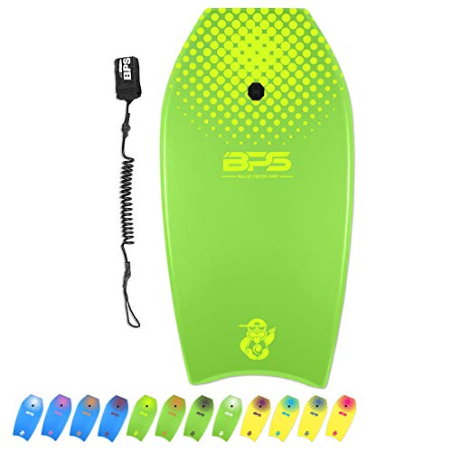 BPS 'Shaka' 37 Inch Bodyboard - Super Lightweight with Black Coiled Wrist Leash - Slick Bottom EPS Core Perform High-Speed Maneuvers Improve Balance (Green, Yellow Accent)