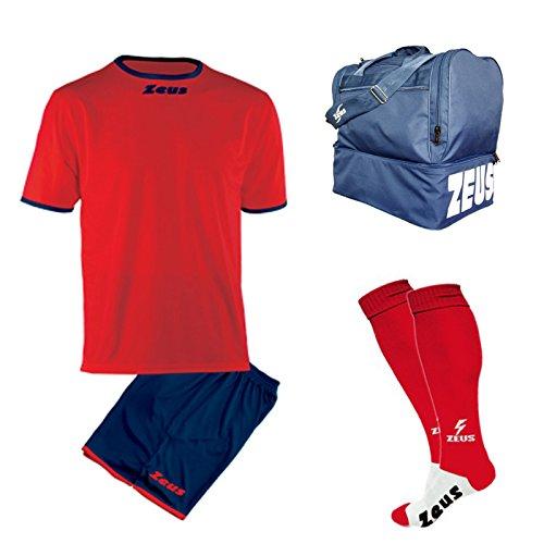 Zeus Kit Calcio Sticker Calza E Borsone Calcetto Allenamento Completino Borsa (XXL, Rosso-Blu)