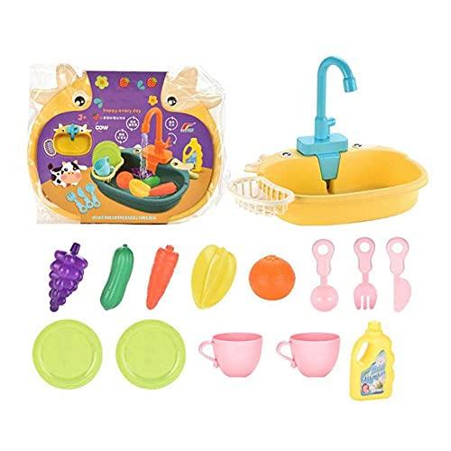 Juguetes de Fregadero de Cocina eléctrico para niños 14pcs Juguete de lavavajillas uguete con Agua Corriente Grifos automáticos Casa Juego de simulación de Juguetes