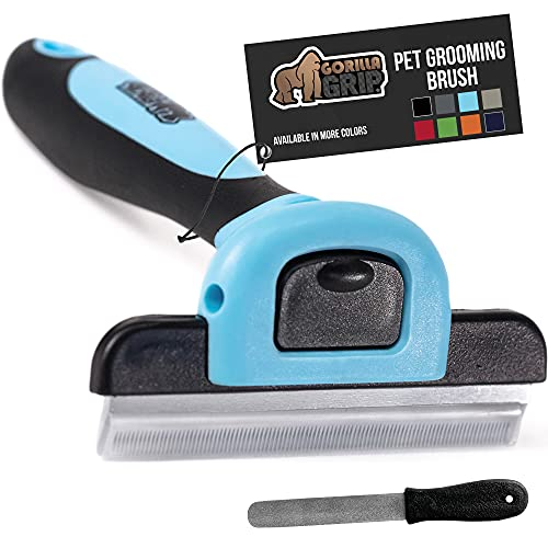 Gorilla Grip Cat and Dog Grooming Brush and File, Pet Undercoat Deshedding Tool, Stainless Steel, Reduces Shedding, Quick Release Comb, Safe, Gentle Long or Short Hair Remover, Slip Resistant, Blue