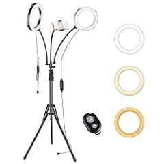 KIT INCLUDES: (2)8-inch LED Ring Light; (1)Tripod Light Stand; (1)SmartPhone Holder; (1)Wireless Remote; (3)Flexible Goose Neck; It is extremely suitable for portrait photography, makeup, live streaming, Twitch, Video shooting, Youtube, fashion, indo...