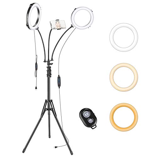 Neewer Anillo Luz Dual con Trípode Brazo Flexible Ganso Diseño Rotación 360° 20cm Luz Regulable LED Anillo 2800K a 6500K con Soporte para Teléfono para Transmisión en Vivo Maquillaje